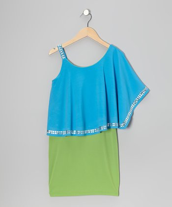 Blue & Green Stud Ruffle Dress