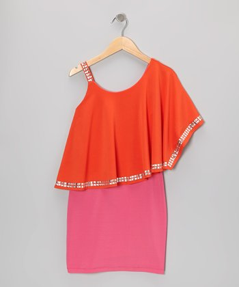 Orange & Berry Stud Asymmetrical Dress