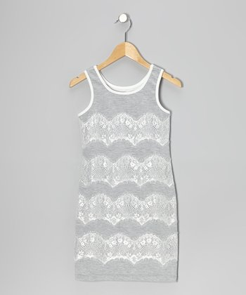 Gray Lace Shift Dress