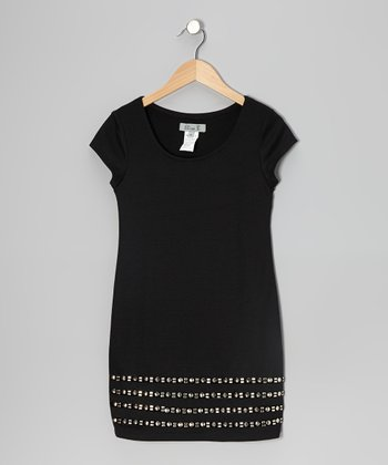 Black Stud Cap-Sleeve Dress