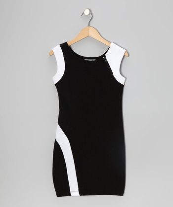 Black & White Zipper Color Block Dress