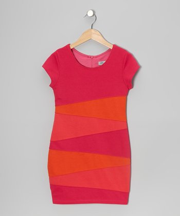Pink & Orange Zigzag Color Block Dress