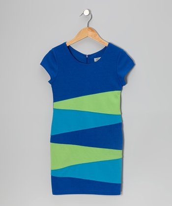 Blue & Green Zigzag Color Block Dress