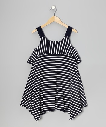 Navy & White Stripe Ruffle Dress