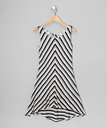 Gray & Black Sparkle Stripe Hi-Low Dress
