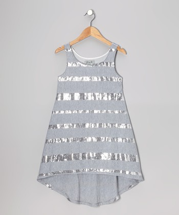 Gray Sequin Hi-Low Dress