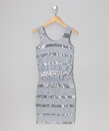 Gray Sequin Cinched-Waist Dress