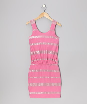 Pink Sequin Cinched-Waist Dress