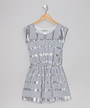 Gray Sequin A-Line Dress