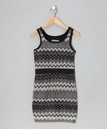 Black & Gray Zigzag Dress