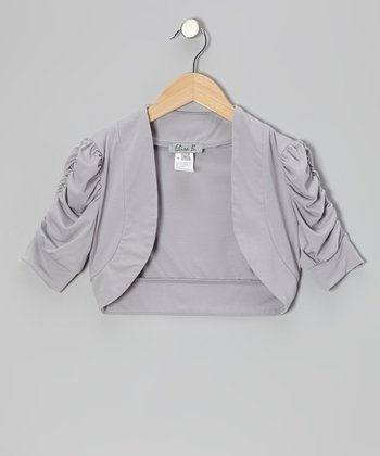 Gray Ruched Shrug - Girls
