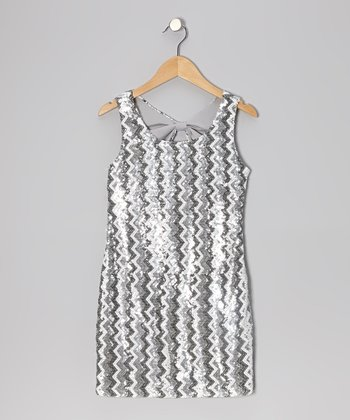 Gray Zigzag Glam Dress - Girls