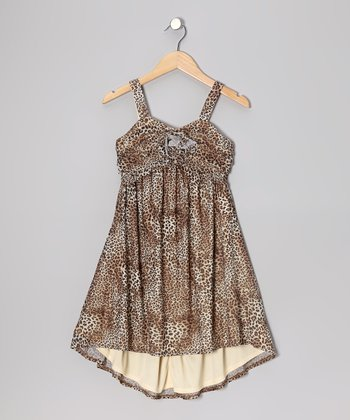 Brown Leopard Hi-Low Dress