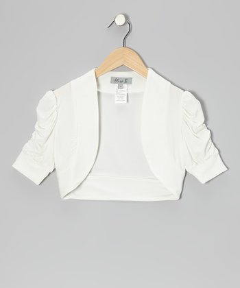White Ruched Shrug