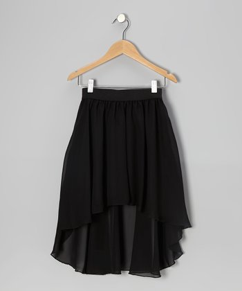 Black Chiffon Hi-Low Skirt