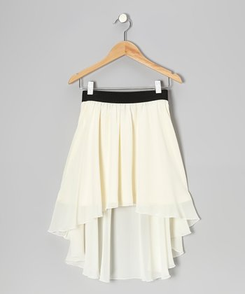 White Chiffon Hi-Low Skirt