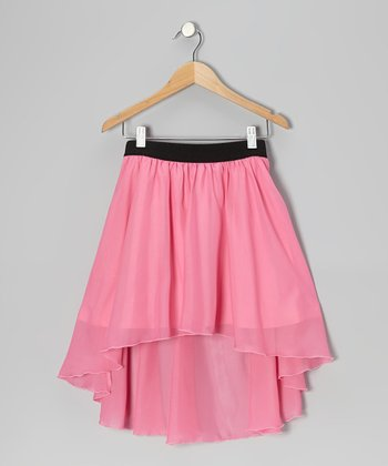 Pink Chiffon Hi-Low Skirt