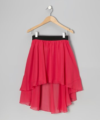 Dark Pink Chiffon Hi-Low Skirt