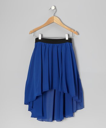 Blue Chiffon Hi-Low Skirt