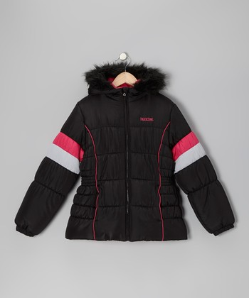 Black & Pink Faux Fur Puffer Coat - Girls