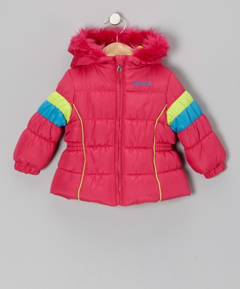 Pink & Neon Green Puffer Coat - Infant