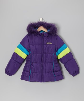 Plum & Neon Green Puffer Coat - Girls