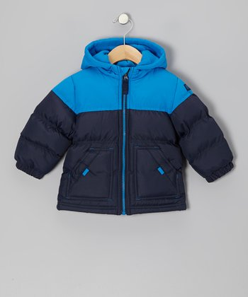 Blue & Navy Puffer Coat - Infant & Toddler