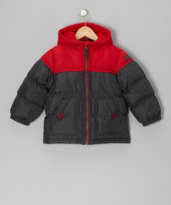 Red & Charcoal Puffer Coat - Infant