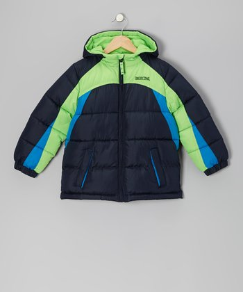 Navy & Lime Puffer Coat - Toddler