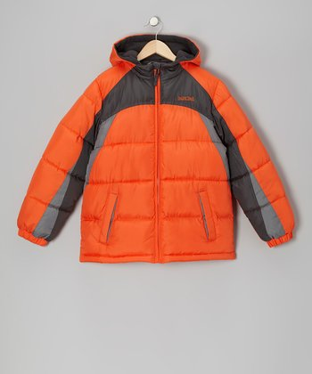 Orange Puffer Coat - Infant & Toddler