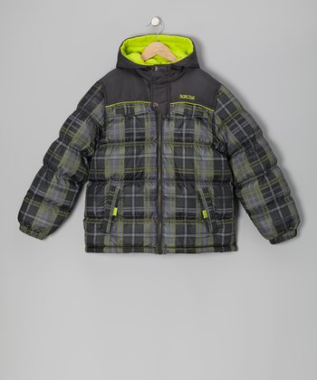 Lime Plaid Puffer Coat - Infant