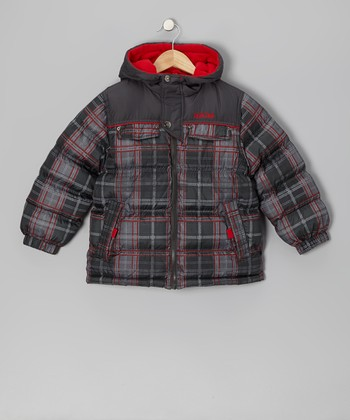 Red Plaid Puffer Coat - Infant & Toddler