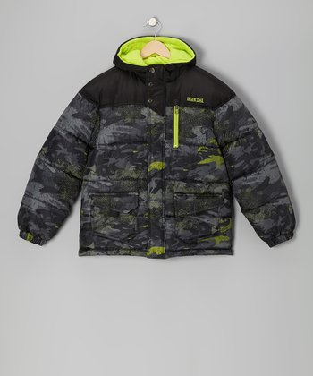 Lime Camouflage Puffer Coat - Boys