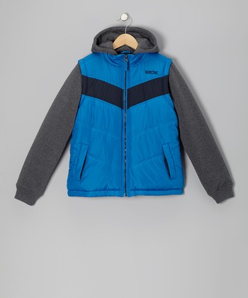 Black & Blue Layered Puffer Coat - Boys