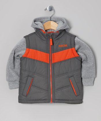 Orange & Charcoal Fleece-Lined Layered Puffer Coat - Boys