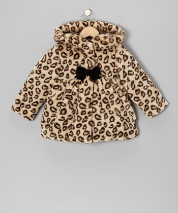 Brown Leopard Faux Fur Hooded Swing Coat - Infant & Toddler