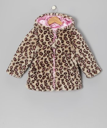 Pink Leopard Faux Fur & Satin Reversible Swing Coat - Infant