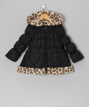 Black Leopard Heart Puffer Coat - Girls