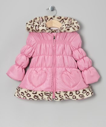Pink Leopard Heart Puffer Coat - Infant & Toddler