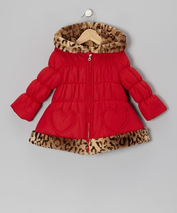 Red Leopard Heart Puffer Coat - Girls