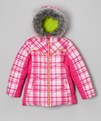 Bright Fuchsia Plaid Puffer Coat - Girls