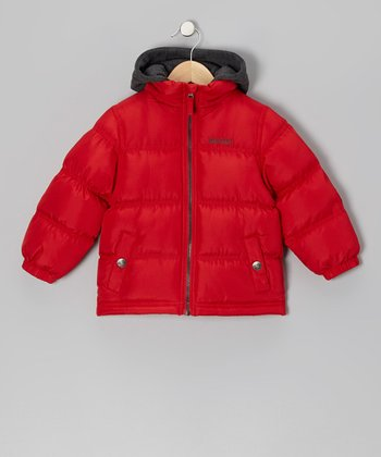 Red Puffer Coat - Boys