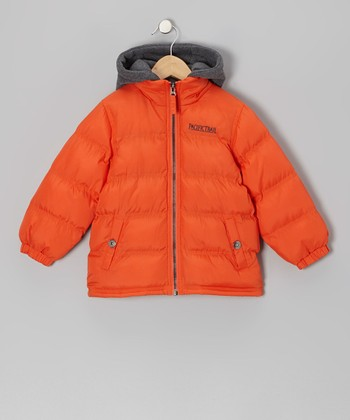 Orange Puffer Coat - Boys