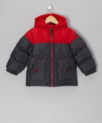 Red & Black Puffer Coat - Boys
