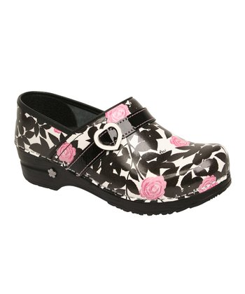 Black Leather Koi Professional Little Camelia Clog