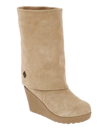 Camel Suede Waverly Fold-Over Boot - Women