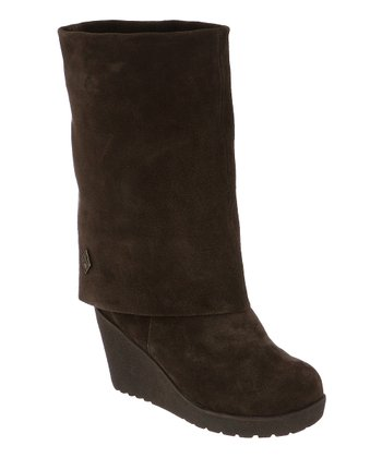 Chocolate Suede Waverly Fold-Over Boot - Women