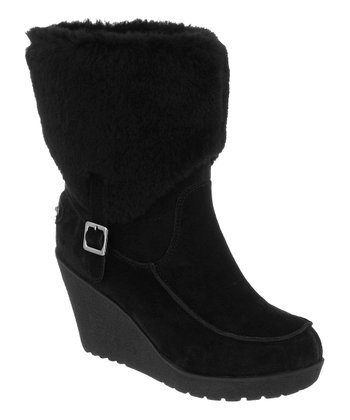 Black Suede Flatbush Fold-Over Wedge Boot - Women