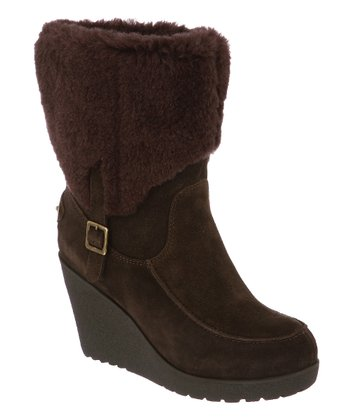 Chocolate Suede Flatbush Fold-Over Wedge Boot - Women