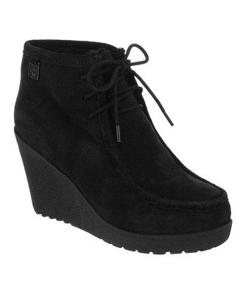 Black Suede Astoria Wedge Boot - Women